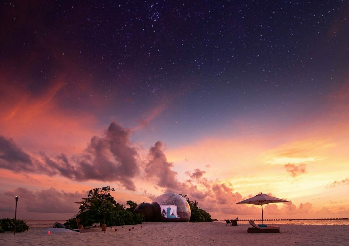 beach bubble tent maldives